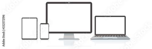 Obraz pc laptop smartphone vector illustration - fototapety do salonu