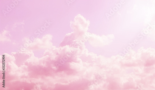 pink sky and clouds background - fototapety na wymiar