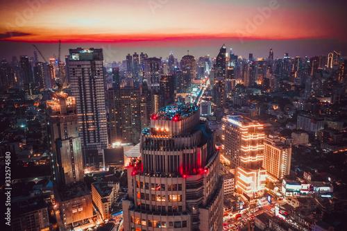Fototapeta Bangkok Aerial view, above Sukhumvit and Thonglor district in Thailand obraz na płótnie