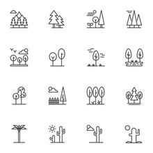 Nature Landscape Line Icons Se...