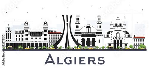 Algiers Algeria City Skyline with Gray Buildings Isolated on White Canvas Print