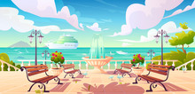Summer Seafront With Cruise Ship And Powerboat In Ocean, Cartoon Quay With Fountain, Benches And Vintage Fence. Vector Sea Landscape With Empty Promenade, Decorative Trees, Street Lamps And Gulls