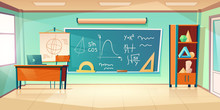 Classroom For Math Learning With Formula On Chalkboard. Vector Cartoon Illustration Of Empty School Class Interior For Mathematics, Geometry And Algebra Learning