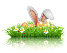 Happy Easter Greeting Card. Rabbit Ears Peeping Out Of Grass With Daisies.