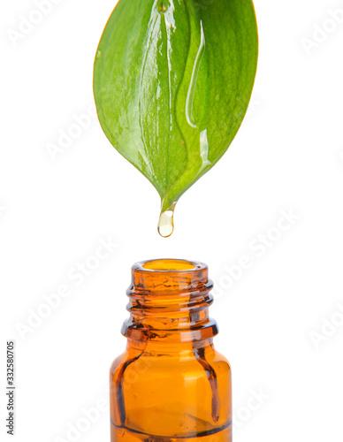 Fototapeta Pouring of perfume essential oil into bottle on white background obraz na płótnie