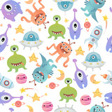 Seamless pattern with alien monsters