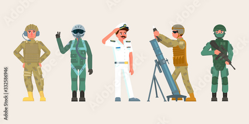 Fotografie, Tablou Military character set in various occupations