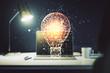 Creative light bulb hologram on modern laptop background, idea concept. Multiexposure