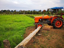 Orange Tractor With Green Fields