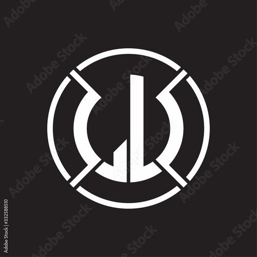 LU Logo monogram with four part circle slash rounded design template Fototapete