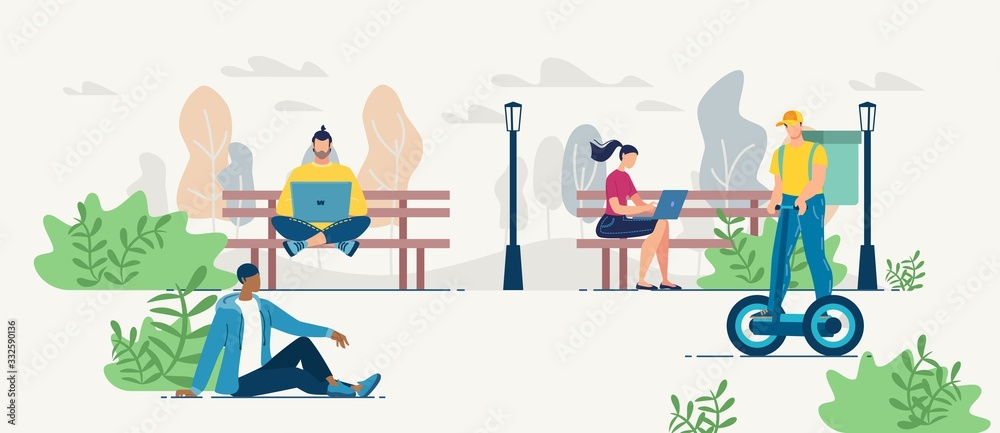 Fototapeta People Resting Working in Park. Man and Woman Ordering Fresh Snack via Internet. Mobile Application and Online Services for Food Delivery Order. Deliveryman with Meal Basket Riding Hoverboard