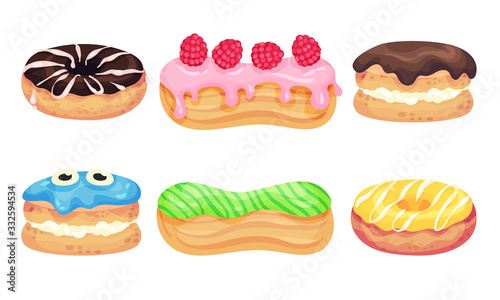 Fototapeta Glazed Doughnuts and Eclair Made from Choux Pastry Vector Set obraz
