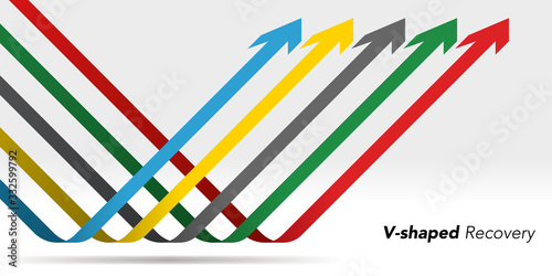 Fotomural V-shaped recovery arrow vector illustration