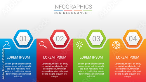 Fotografía Business data visualization, infographic template with 4 steps on gray backgroun