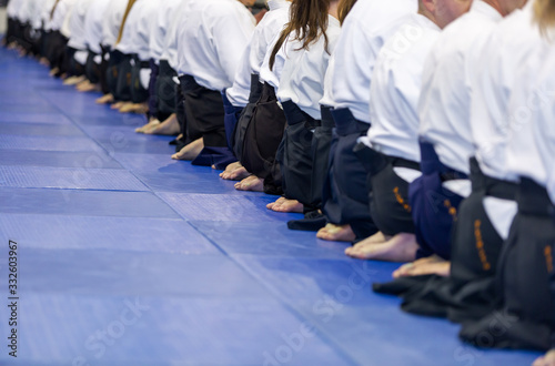 People in kimono and hakama on martial arts training Wallpaper Mural