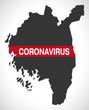 Ostfold NORWAY county map with Coronavirus warning illustration