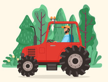 Man Driving Tractor On Road In Countryside. Red Agriculture Machinery With Big Wheels. Farm Vehicle Used To Mechanize Agricultural Tasks. Beautiful Landscape With Green Trees. Vector Illustration