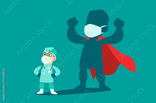 Obraz doctor wearing medical mask with his shadow as superhero - fototapety do salonu