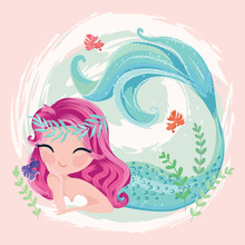 Little Cute Mermaid With Fishe...