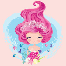 Little Cute Mermaid With Fishes And Seashells. Book Illustration, Fashion Artworks, T Shirt Graphics.