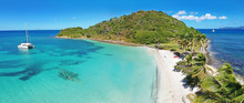 Caribbean Grenadines Mayreau Tropical Island Beach, Panoramic Aerial View Of Salt Whistle Bay