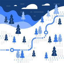Winter Skiing Slope Map, Snow Forest, Trail Walking, Running Or Cycling Path, Orienteering Game