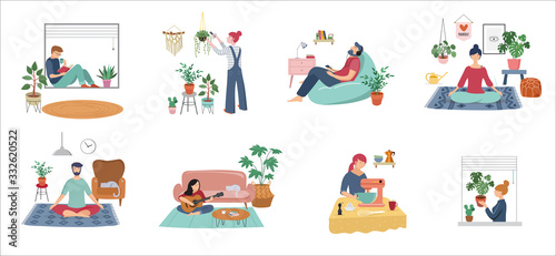 Quarantine, stay at home concept series - people sitting at their home, room or apartment, practicing yoga, enjoying meditation, relaxing on sofa, reading books, baking and listening to the music.  - 332620522