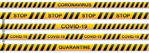 Obraz Warning coronavirus yellow and black stripe on transparent background - fototapety do salonu