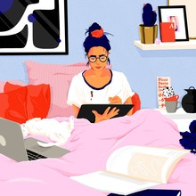 Illustration Of Woman Using Digital Tablet And Laptop While Working From Home