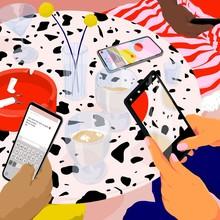 Illustration Of Friends Using ...