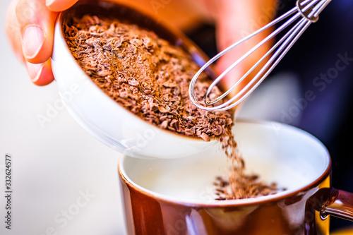 making a hot chocolate Canvas Print