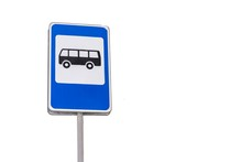 Bus Stop Sign, Isolate On A Wh...