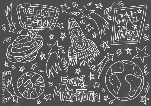 Doodle line vector illustration on dark background. Space migration concept. Planet Earth, Saturn, rocket, star and travel to the Universe lettering. Cosmos poster, banners, card, textile, t-shirt