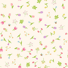 Vector Seamless Floral Spring Pattern With Abstract Flowers, Tulips, Snowdrops, Butterflies And Bees.