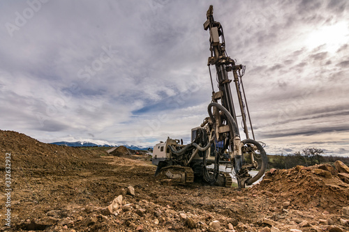 Tablou Canvas Drilling rock in the works of creating a road