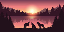 Wolf Pack At Beautiful Purple Forest And Lake Nature Landscape At Sunrise Vector Illustration EPS10