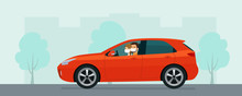 Hatchback Car With A Young Man And Woman In A Medical Mask Driving On A Background Of Abstract Cityscape. Vector Flat Style Illustration.