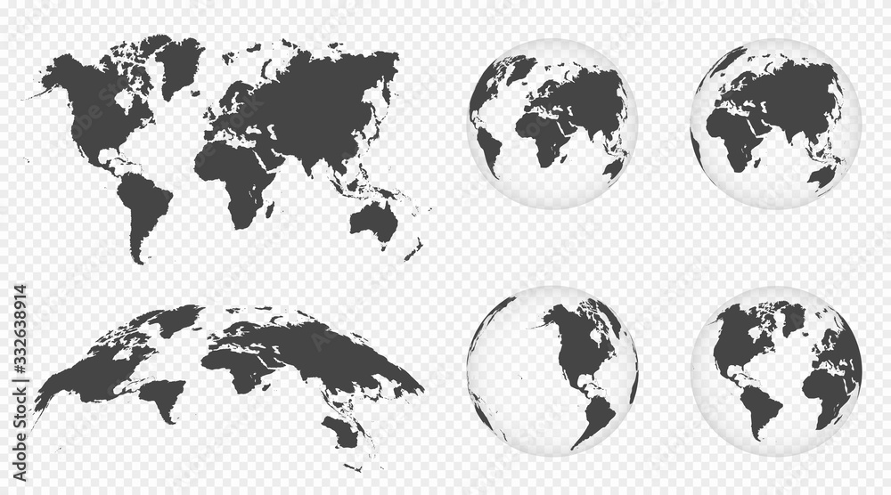 Fototapeta Set of transparent globes of Earth. World map template with continents. Realistic world map in globe shape with transparent texture and shadow. Abstract 3d globe icon