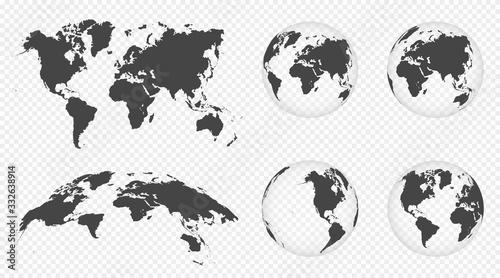 Valokuvatapetti Set of transparent globes of Earth