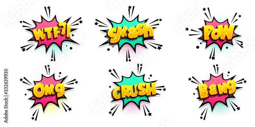 Comic text speech bubble pop art style