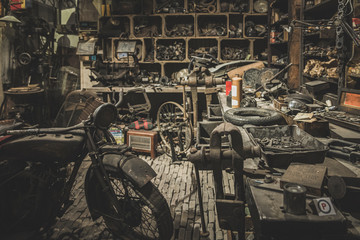 old motorcycle mechanic workshop, has been abandoned since the last century