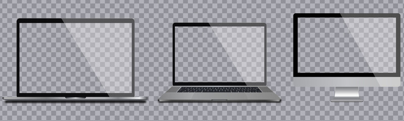 Laptop and pc mockup for marketing, web design and product presentation. Vector graphic