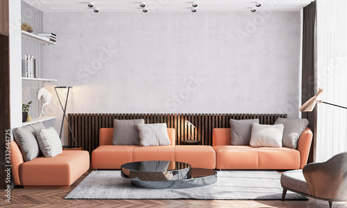 Obraz Scandinavian interior design of living room with orange sofa furniture, vintage beige wallpaper background and wooden wall stripes, black table, gold accessories on glass shelf. poster mock up frame - fototapety do salonu