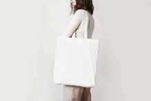 Urban Mockup Of Tote Bag. Girl...