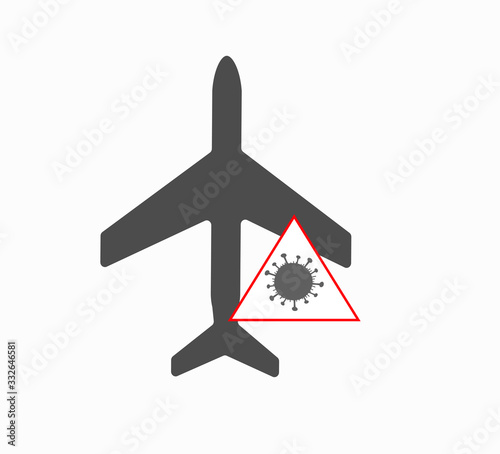 Airplane and virus covid-19 icon vector Wallpaper Mural