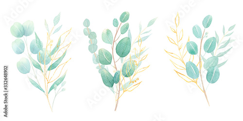 Fototapety, obrazy: Watercolor eucalyptus bouquet set with gold leaves. Composition with leaves for wedding invitation, greeting card, background, logo, stationery  design. Green foliage. Hand painted greenery isolated.