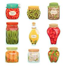 Pickled Vegetables Food, Homemade Glass Jar Set