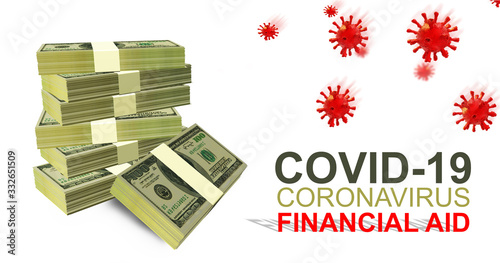 Fotografiet financial aid support help for covid-19 coronavirus therapy - 3d rendering