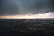 Terrific Cloudscape. Sailing In A Thunderstorm. Dramatic Sky. Sunlight Through The Clouds. Baltic Sea, Latvia