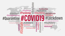 COVID19 World Hashtag Background Concept. COVID 19 And Coronavirus Word Cloud Word Tag On World Map Background. Abstract Concept Corona Virus Disease. Vector Illustration